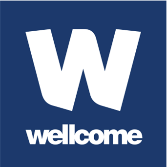 Wellcome Trust logo in white on blue