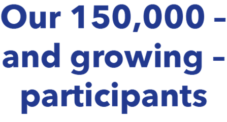 Text highlighting the BioResource has 150,000 participants and growing