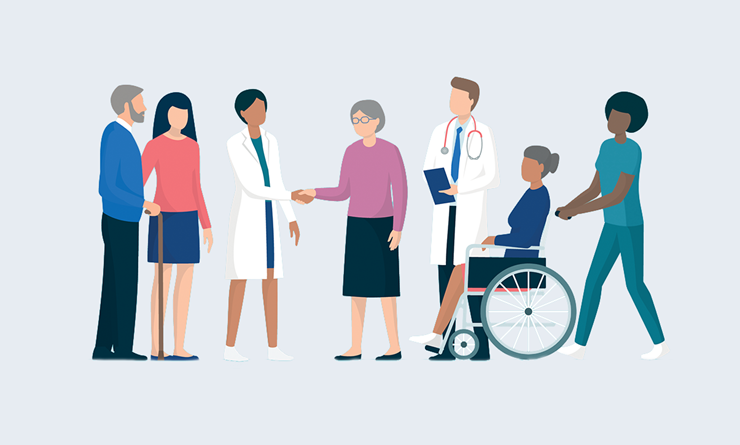 Patients and healthcare workers illustration